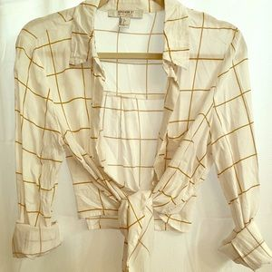 White and Gold Plaid Crop Top